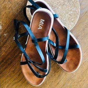 MIA black leather sandals